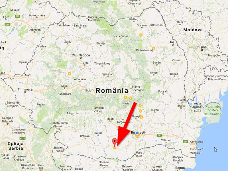 map location of Peretu - Romania